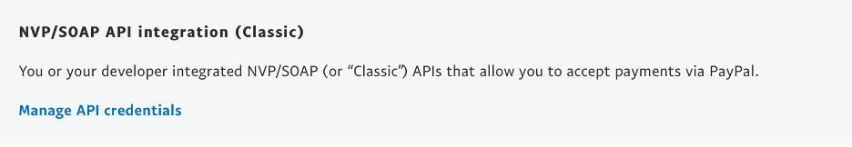 API credentials paypal.