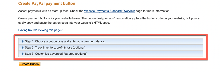 Create PayPal payment button steps shown.