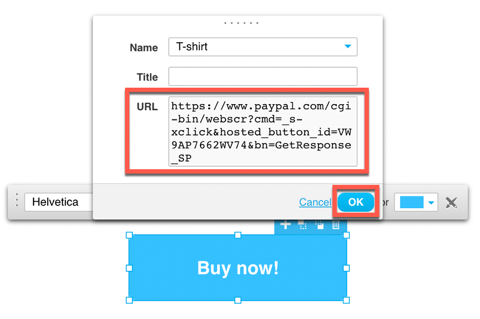 PayPal button URL field filled out automatically shown.