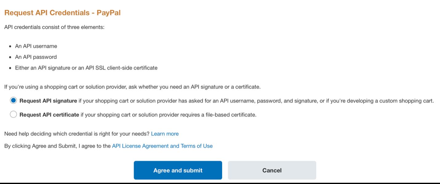 Request API credentials PayPal.