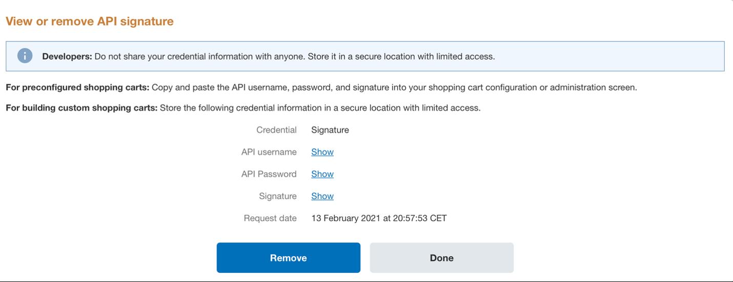 Show API credentials PayPal.