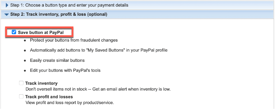 Step 2 Save button at PayPal shown.