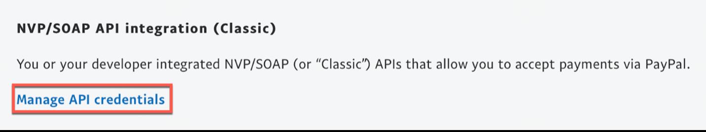 Manage API credentials.