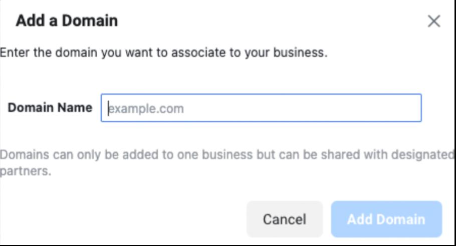 Add a Domain pop up window shown.