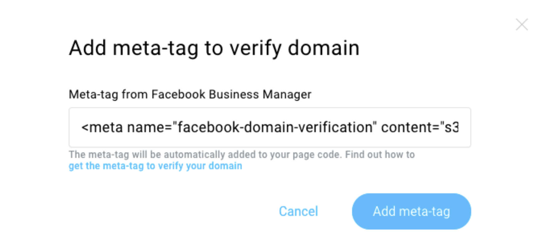 Add meta tag to verify your domain window shown.