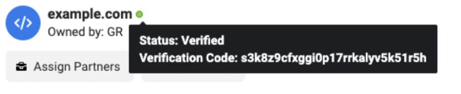 Domain status verified shown.