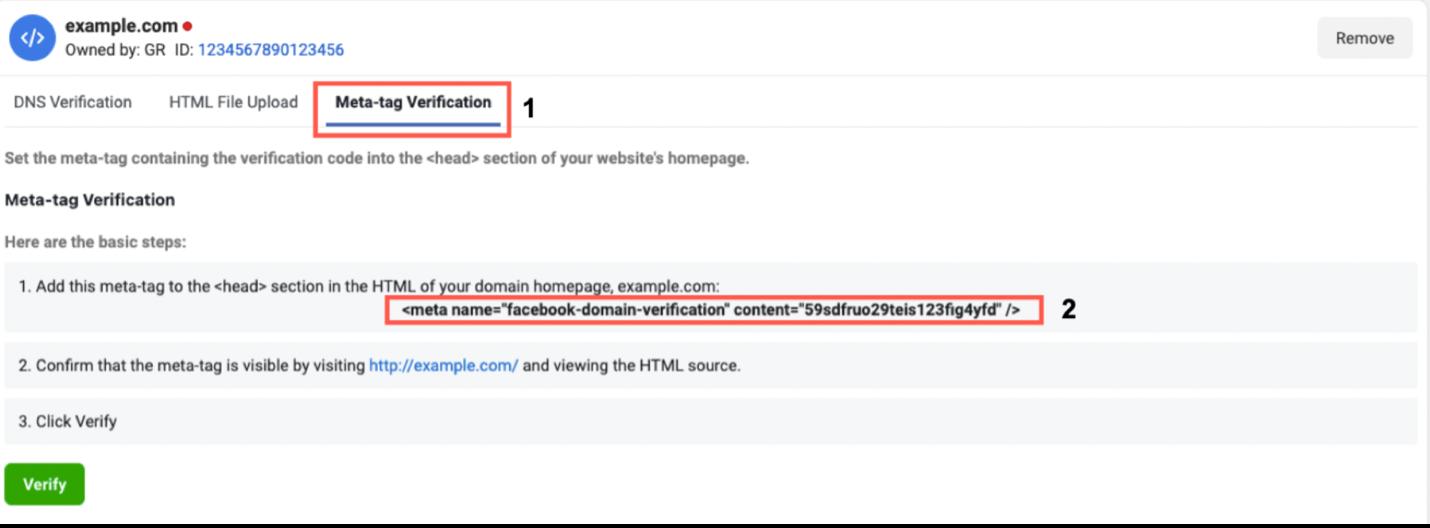 Meta-tag Verification tab and copy tag shown.