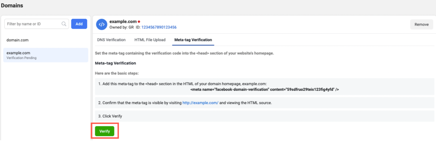 Meta-tag Verification tab and green verify button shown.