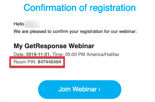 confirmation of registration email pin.