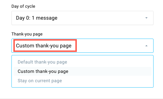Thank you page setting in the landing page editor