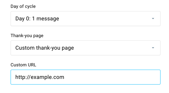 Thank you page example URL
