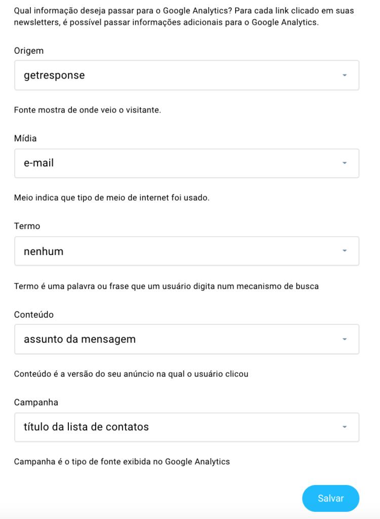 Configuração do Google Analytics