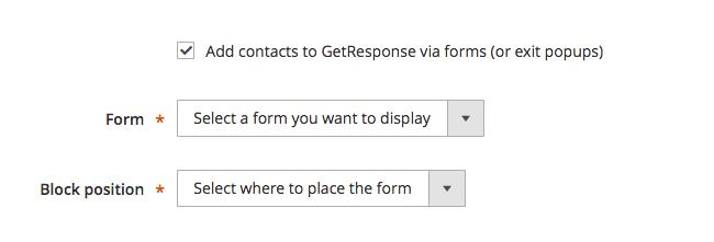 opción de añadir contactos a través de formularios seleccionada para mostrar la configuración