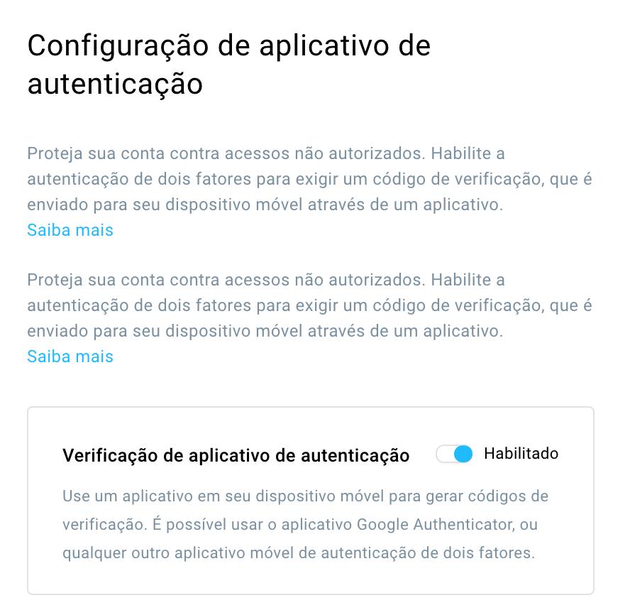 configuração da app de autenticação