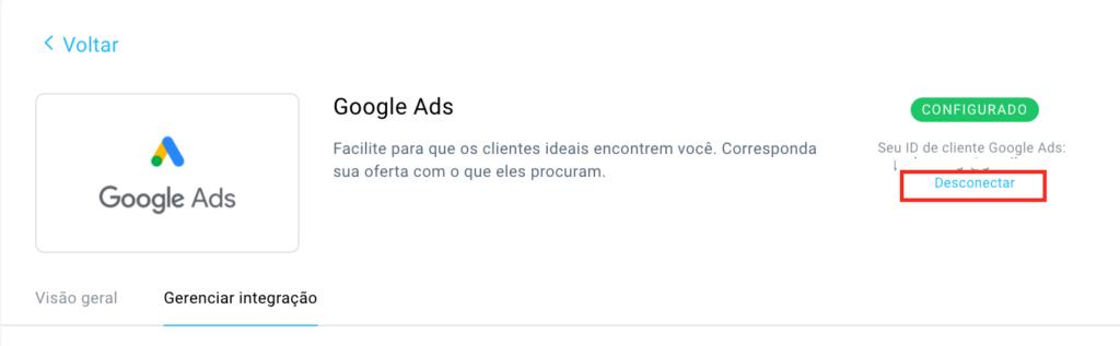 Desconectar a integração do Google Ads