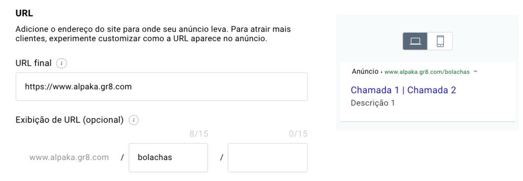 exibição da URL