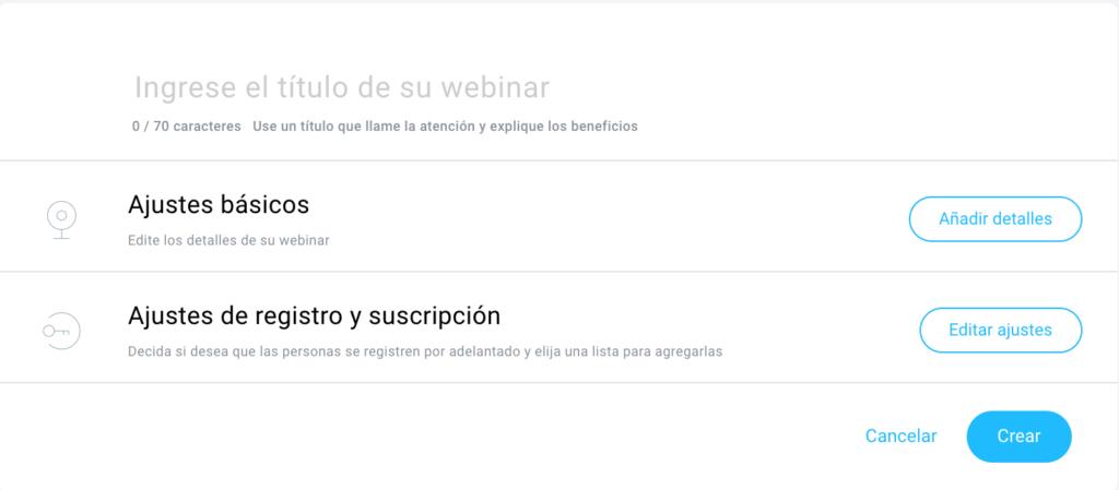 Configuración del webinar