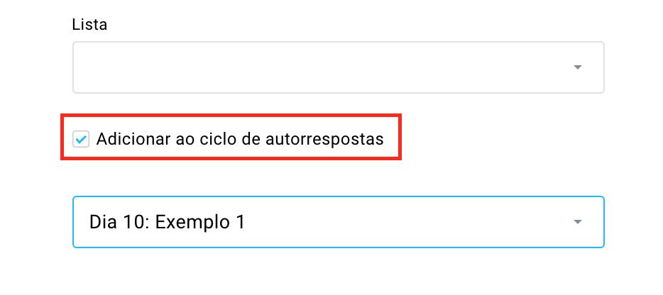 adicionar ao autoresponder quando adicionando contatos