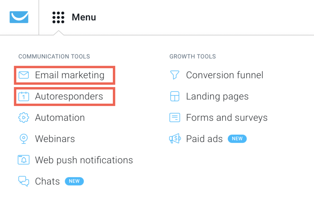 Email marketing and Autoresponders tabs shown.