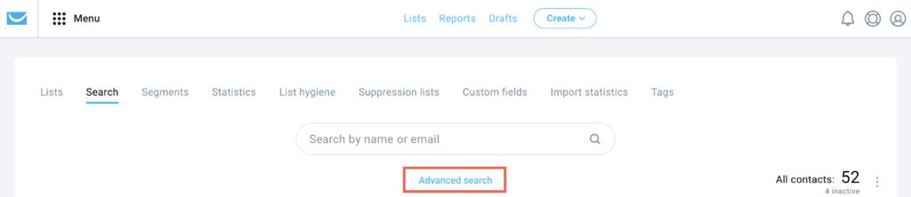 Advanced search shown.