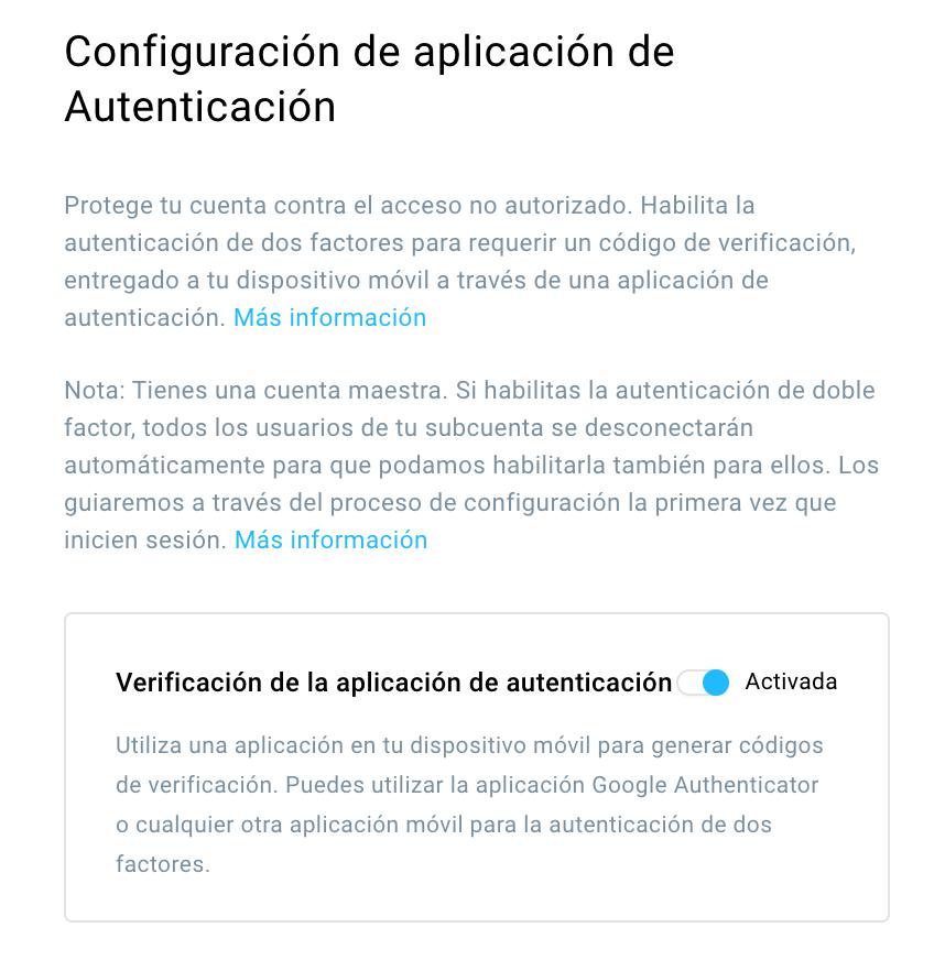 Configuración de aplicación de Autenticación