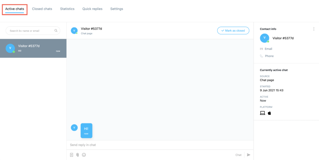 Active chats page shown.
