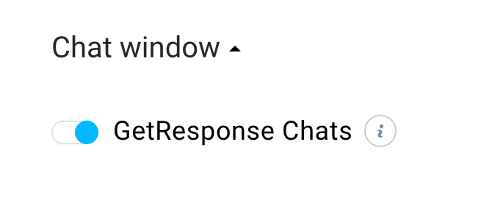 GetResponse Chats enable toggle shown.