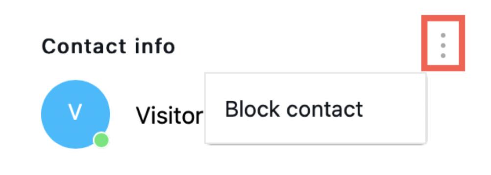 Action menu and Block contact shown.