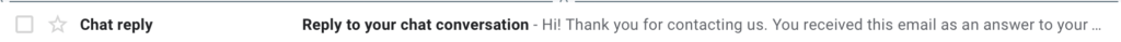 The email in inbox shown