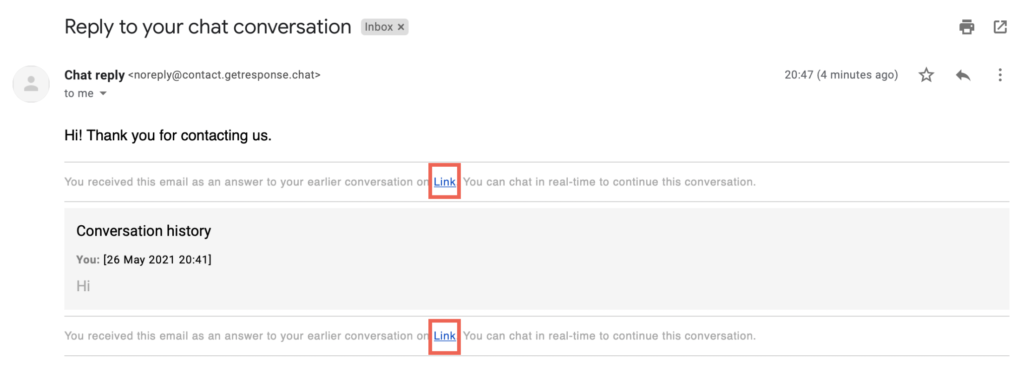 Link to the chat page in the email shown.