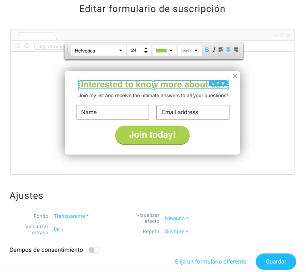 formulario emergente y su configuración