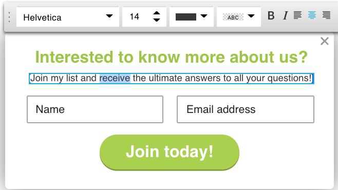 editar el texto dentro del formulario