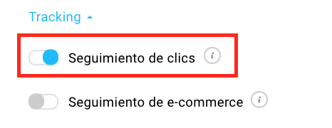 seguimiento de clics activado