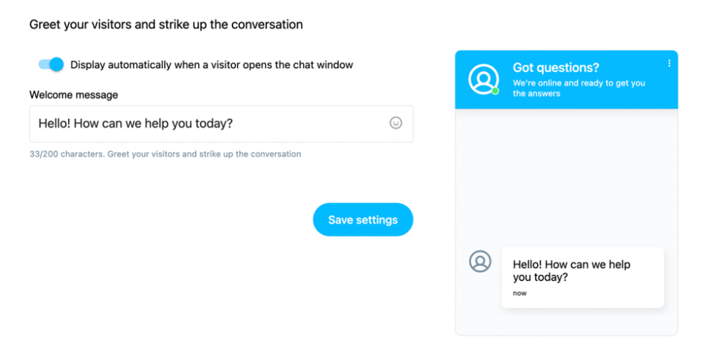 Welcome message settings shown.