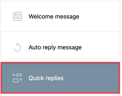 Quick replies tile shown.