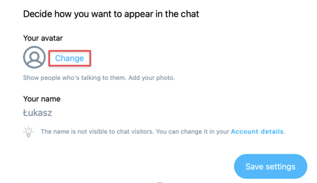 Your avatar and Change button shown.