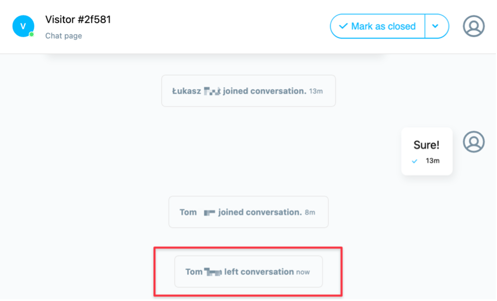 Another operator left conversation prompt shown.