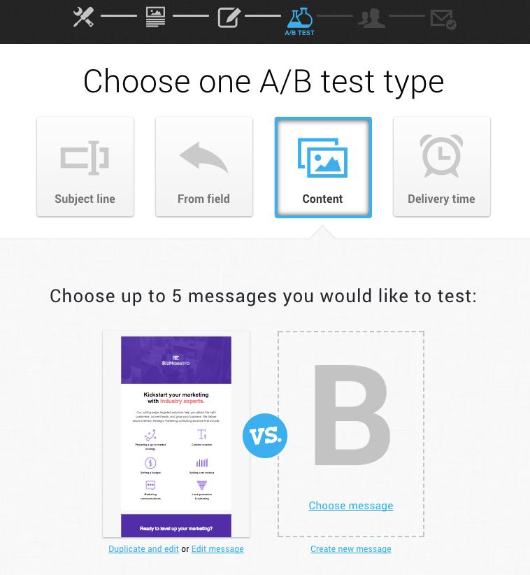 Picture 15. GetResponse A/B test setup