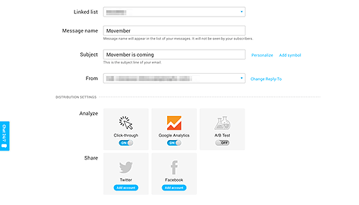 An example of a Google Analytics integration in a GetResponse account.