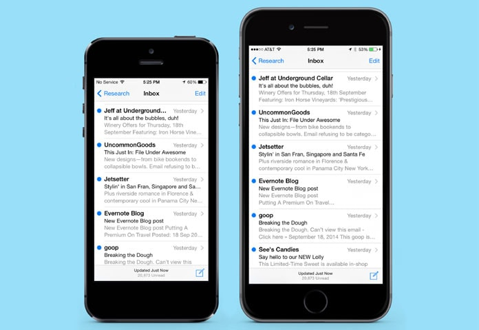 lmg.2 Preheader text in iPhone 5 & iPhone 6 native email client