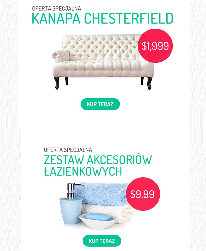 Zdj.2. Przykładowe newslettery prezentujące produkty z różnych kategorii cenowych