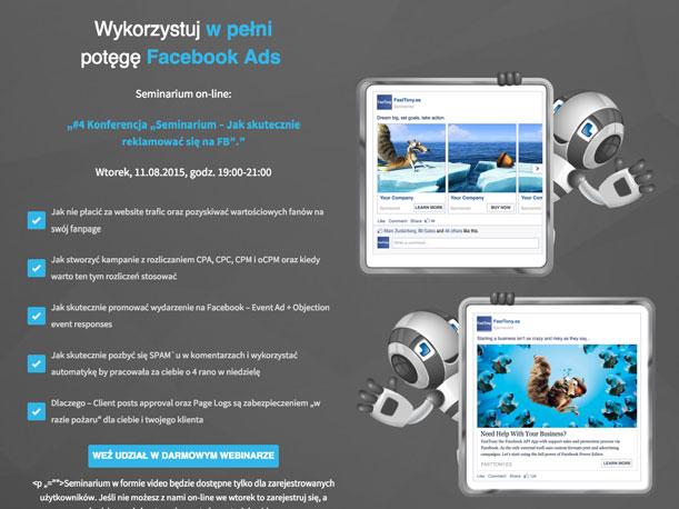 Przykład 1 - Rejestracja na darmowy webinar zorganizowany przez firmę FastTony.es