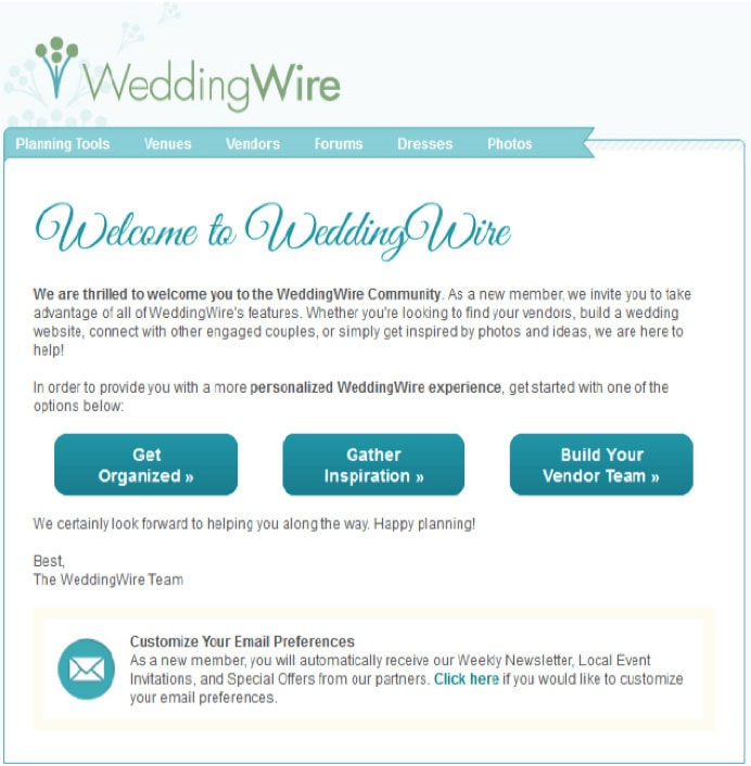 Picture 5. Wedding Wire message cycle. Email #1