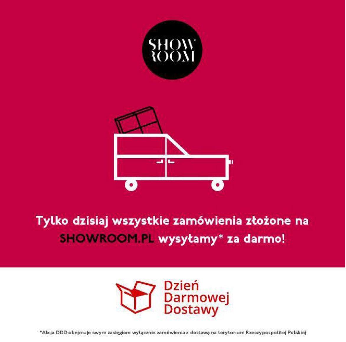 Grafika z informacją o dniu darmowej dostawy z profilu firmy Show-room.pl