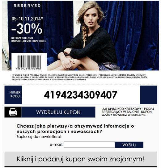 Przykład 3 - Formularz z kuponem rabatowym marki Reserved