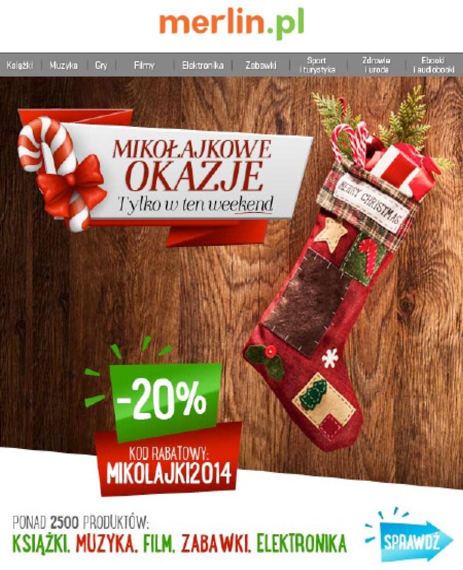 Fragment newslettera mikołajkowego od Merlin.pl