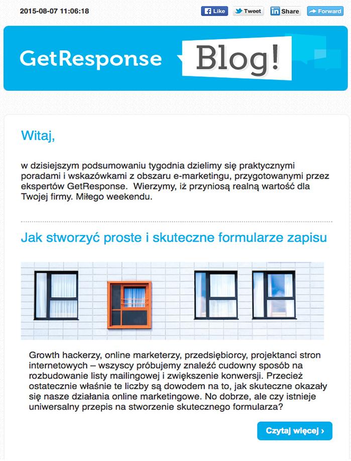 Zdj.7 Wiadomość zawierająca powiadomienie z bloga GetResponse, wysłana za pomocą funkcji RSS-to-email