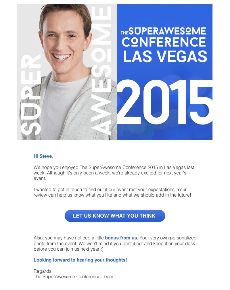 Example of a personalized thank you email sent to conference participants