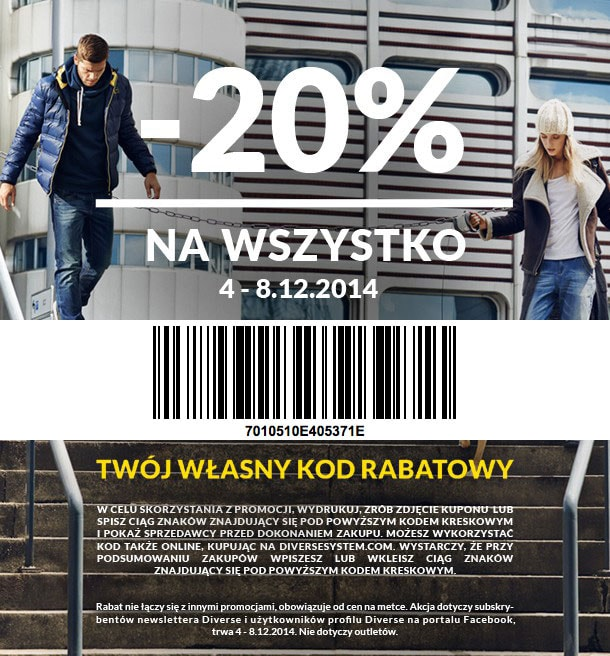 Discount email with personalized barcodes by Diverse for the Polish market