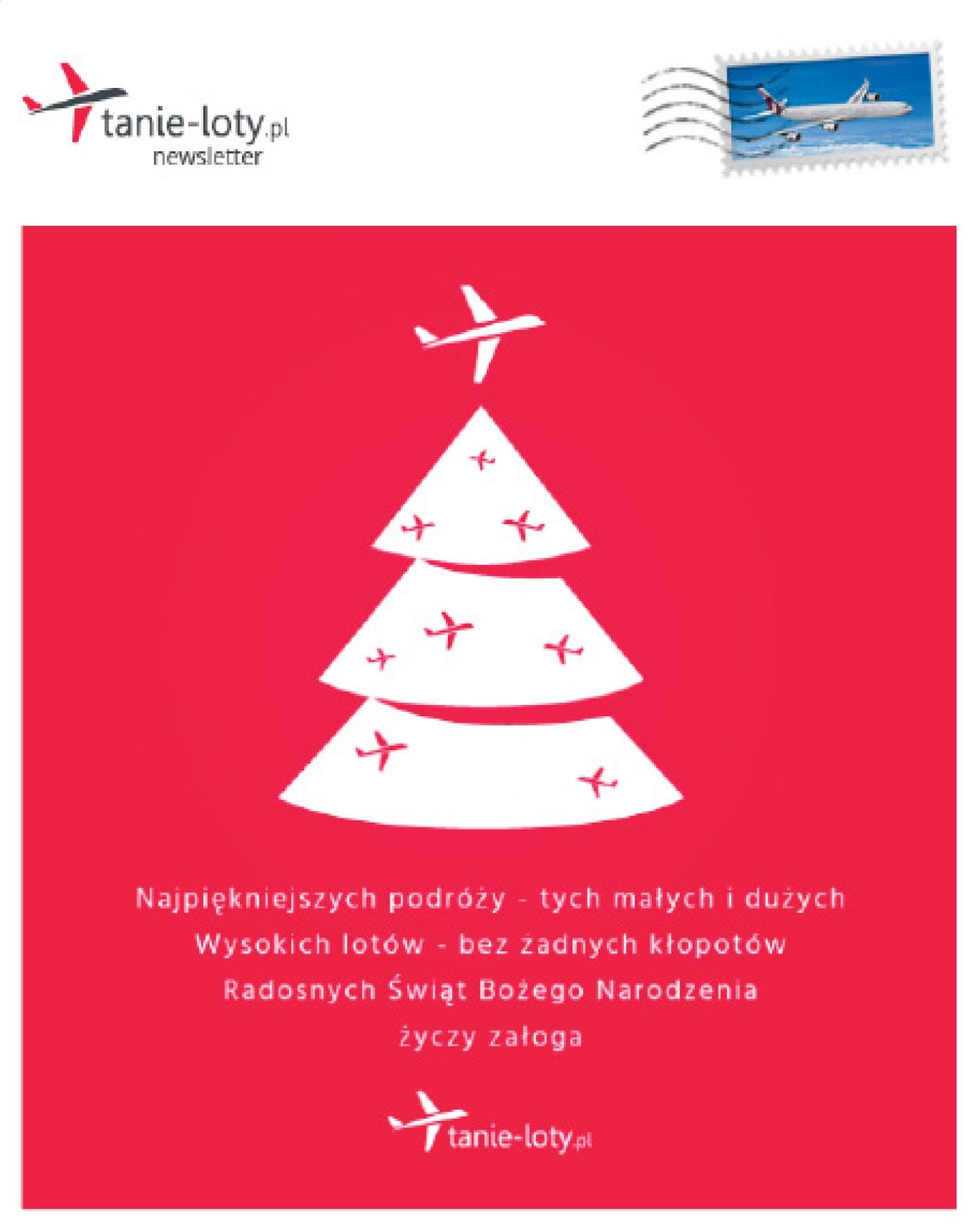 Fragment newslettera świątecznego od tanie-loty.pl